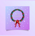 merry christmas wreath vector image