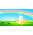 Milk products with rainbow natural background
