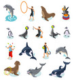 sea circus isometric icons vector image vector image