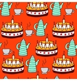 seamless pattern of tea and pie vector image vector image