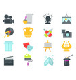 Set of art icons in flat design atist ink graphic