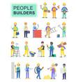 set people builders workers vector image