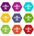ski equipped airplane icon set color hexahedron vector image vector image