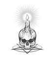 skull and burning candle on pentagram vector image vector image