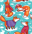 snowy seamless pattern with cartoon foxes in cozy vector image vector image