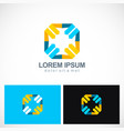 square colored arrow point logo vector image vector image