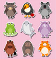 sticker design with cute animal characters vector image