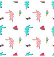 summer seamless pattern with cute bunny vector image
