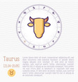 taurus in zodiac wheel horoscope chart vector image