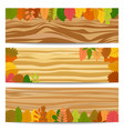 three autumn sale banners with yellow leaves vector image vector image
