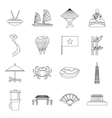 Vietnam travel icons set outline style vector image vector image