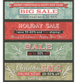 vintage christmas banners with sale offer vector image