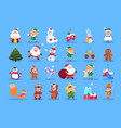 winter characters cartoon santa elves and winter vector image