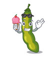 with ice cream vegetables pod green bean in vector image