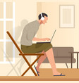 working from home sitting in chair while looking vector image