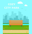cozy city park with wooden banch vector image
