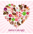 Sweet heart poster for sweet shop vector image