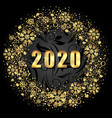 2020 text golden shimmer design with light vector image