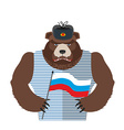 Angry Russian bear holding Russian flag Beast vector image vector image