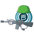 army digixdao coin character cartoon vector image vector image