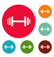 barbell icons circle set vector image