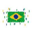 brazil state flag formed crowd cartoon vector image