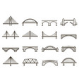 bridges line icon set city architecture vector image vector image