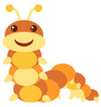 brown caterpillar on white background vector image vector image