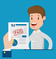 businessman with tax set icons vector image