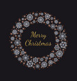 christmas wreath with golden glittering lettering vector image vector image