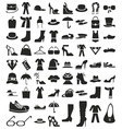 clothing and footwear icons on white vector image vector image