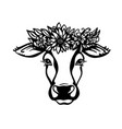 cow head with flower wreath black graphic vector image vector image