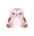 cute cartoon gray owlet bird character sitting on vector image