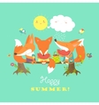 Cute foxes eating watermelon vector image