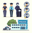 cute happy police woman agents working in uniform vector image
