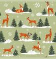 deer forest pattern vector image vector image