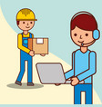 delivery man with a box and operator man holds vector image vector image