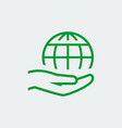earth care icon in thin line style - hand vector image