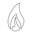 fire flamme symbol black and white vector image vector image