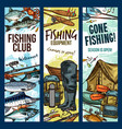 fisherman sport club fishing sketch banners vector image vector image