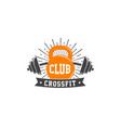 fitness crossfit gym emblems label badge logo vector image vector image
