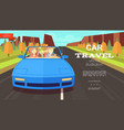 flat car trip summer background vector image vector image