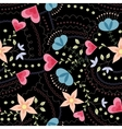 Flowers and hearts pattern vintage on black vector image vector image