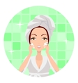Girl Cleaning and Care Her Face vector image vector image