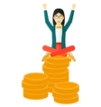 Happy business woman sitting on coins vector image vector image