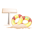 Inflatable Ring and Wooden Placard vector image