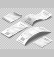 isometric receipts bill printed billing receipt vector image vector image