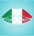 italy flag lipstick on the lips isolated on a vector image vector image