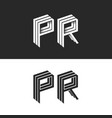 letters p and r logo set isometric emblem symbol vector image vector image