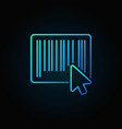 mouse click on barcode blue icon in thin line vector image